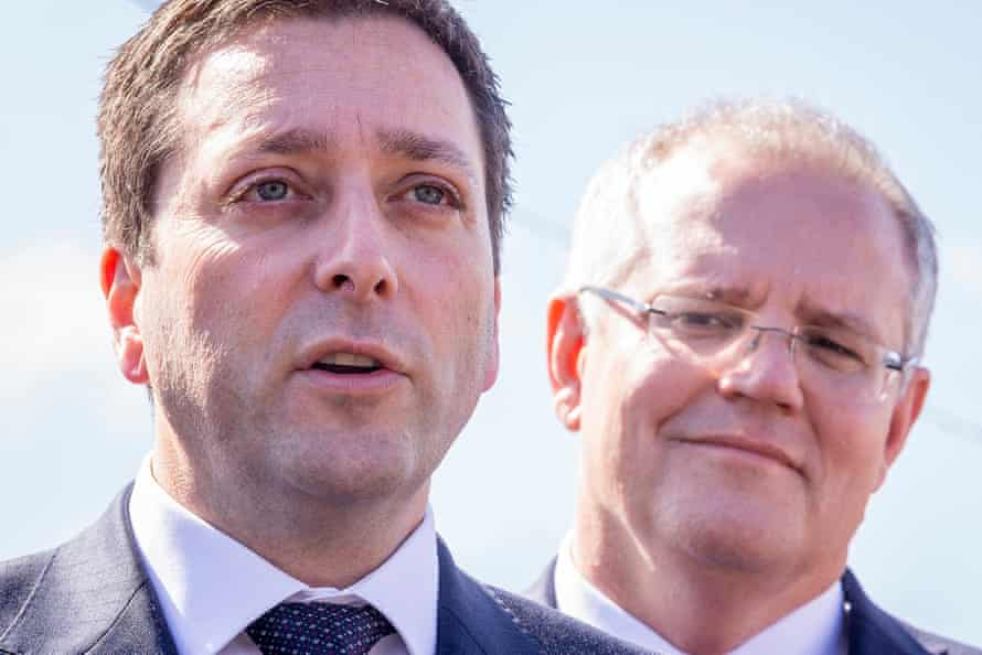 The Victorian opposition leader, Matthew Guy, and the prime minister, Scott Morrison, at Leawarra railway station in Frankston