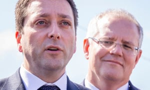 The Victorian opposition leader Matthew Guy with Scott Morrison during the election campaign.