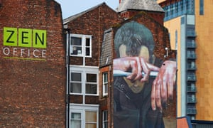 Mural by German graffiti artist CASE on the front of Swan Buildings, Manchester, highlighting the issue of mental health