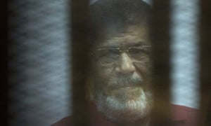 Mohammed Morsi pictured in 2016 during an earlier trial in Cairo.