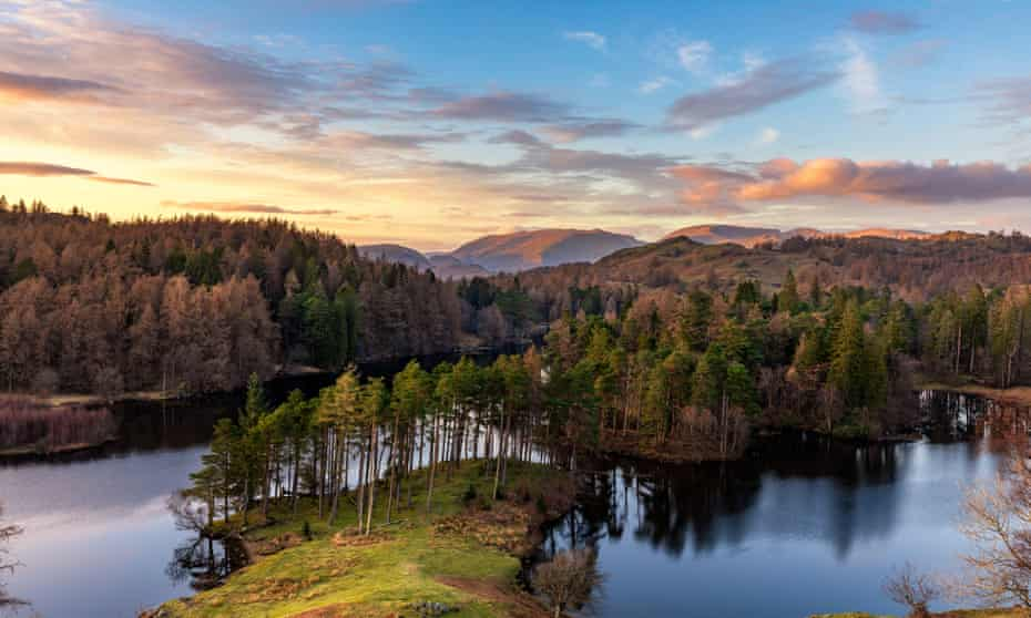 Aerial view on a bright, sunny day of Tarn Hows, Lake District national park, UK.