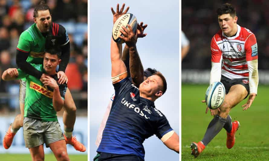 Marcus Smith and Michele Campagnaro of Harlequins; Rob du Preez of Sale Sharks; Louis Rees-Zammit of Gloucester.