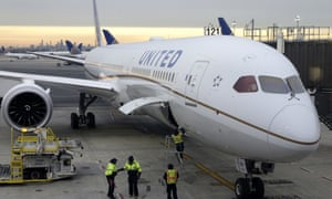 A flight from Los Angeles pulls up to a gate at Newark airport.