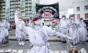 Protests against the Silvertown tunnel in east London.
