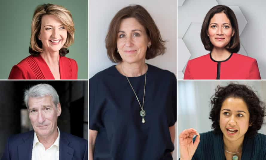 (Clockwise from left) Victoria Derbyshire, Kirsty Wark, Mishal Husain, Samira Ahmed and Jeremy Paxman