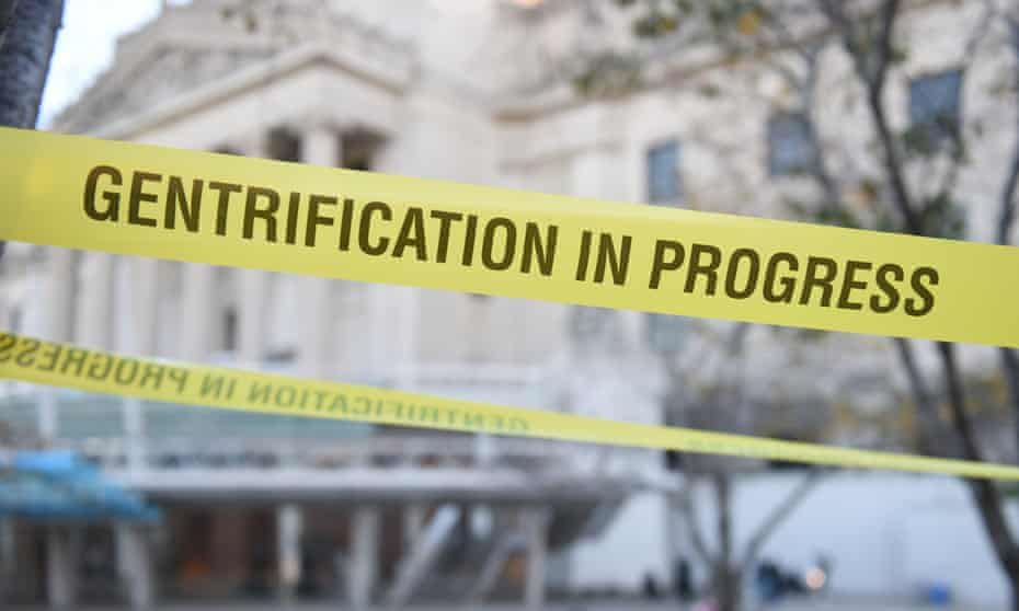 Gentrification In Progress tape in front of Brooklyn Museum