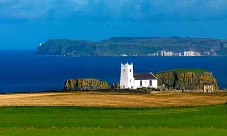 Rathlin Island and Ballintoy Church, Antrim coast.