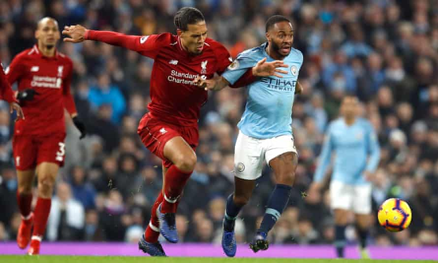 Virgil van Dijk tangles with Raheem Sterling during Manchester City's 2-1 win against Liverpool in January