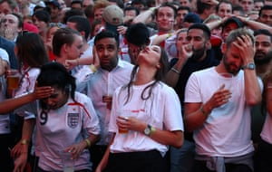 England fans watch Croatia v England - Flat Iron Square, 11 July, London