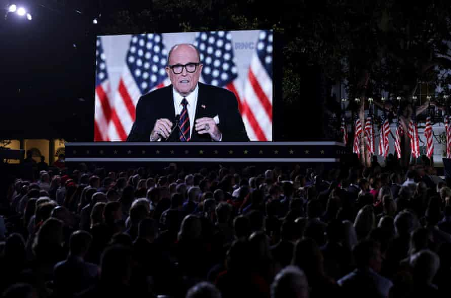 Former New York mayor and Trump personal attorney Rudy Giuliani seen on a video screen addressing the final night of the Republican national convention.