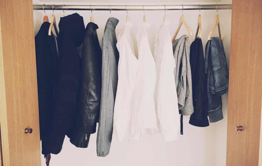 'Here's a look in my closet, from a down jacket to a suit, some white shirts, and the few pairs of trousers that match in a simple style. I am aiming to create my own uniform with a signature style like Steve Jobs had.'