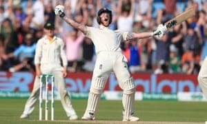 England's Ben Stokes celebrates winning the third Ashes Test match at Headingley last summer.