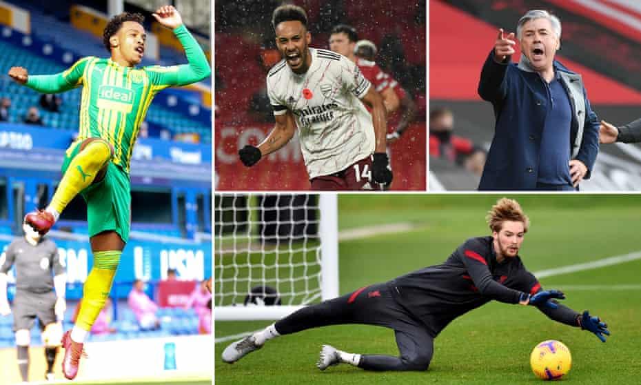 Clockwise from top left: West Brom's Matheus Pereira, Arsenal's Pierre-Emerick Aubameyang, Everton manager Carlo Ancelotti and Liverpool keeper Caoimhín Kelleher.