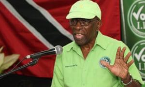 Former Fifa vice-president Jack Warner at a political rally in Marabella, Trinidad and Tobago.