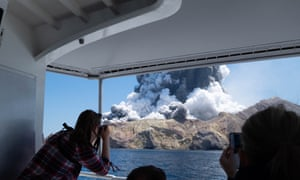 The volcano erupting on White Island, 9 December 2019.
