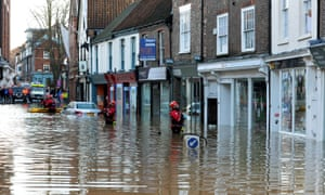 Rescue workers in York's flooded city centre