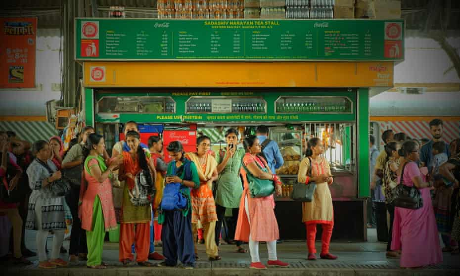 Women waiting to board the women-only carriage at a Mumbai railway station.