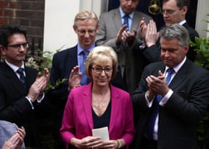 Andrea Leadsom announces her withdrawal from the Conservative leadership race on 11 July