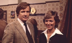 William Roache (as Ken Barlow) and Suzan Farmer (as Sally Robson) in Coronation Street, 1978.