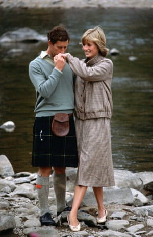 Charles and Diana during their honeymoon at Balmoral in Scotland, 1981. The princess is wearing a suit designed by Bill Pashley with pumps by the Chelsea Cobbler.