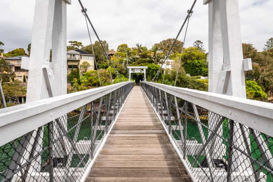 Parsley bay white foot bridge in Sydney, NSW Australia.