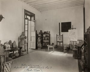 The studio of Frida's husband, painter and muralist Diego Rivera, at the Casa Azul, in 1930