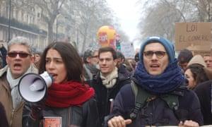 Demonstrators in Paris on 9 April.