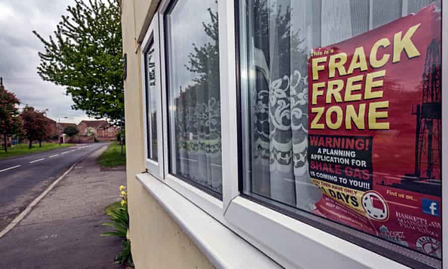 Posters protesting against plans to explore for shale gas in Misson, north Nottinghamshire.