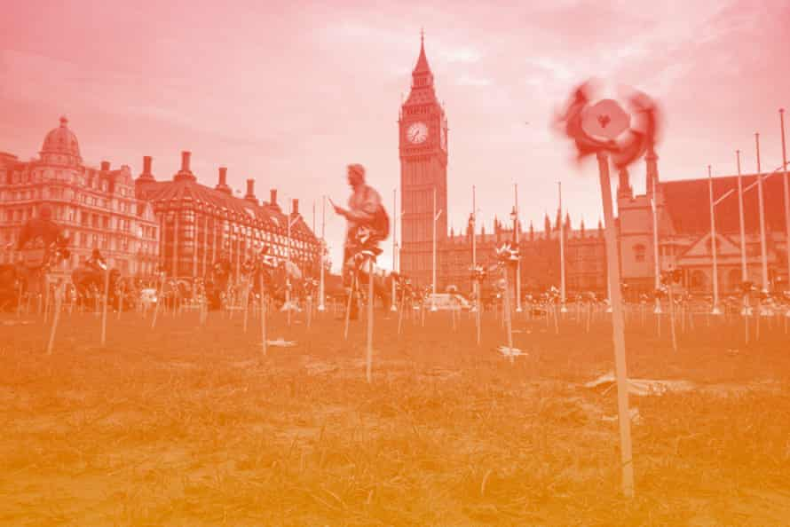 Climate change campaign in Parliament Square, London