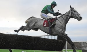Bristol De Mai and Daryl Jacob clear the final fence to win the Peter Marsh Chase by 22 lengths
