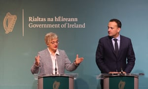 Ireland's minister for children and youth affairs, Katherine Zappone, with the taoiseach, Leo Varadkar, brief the media on plans for a referendum on the country's abortion laws, 29 January 2018.