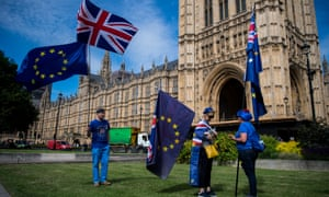 Protesters outside parliament during the debate on the EU withdrawal bill.
