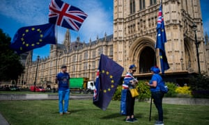 Anti-Brexit protesters outside the Houses of Parliament.