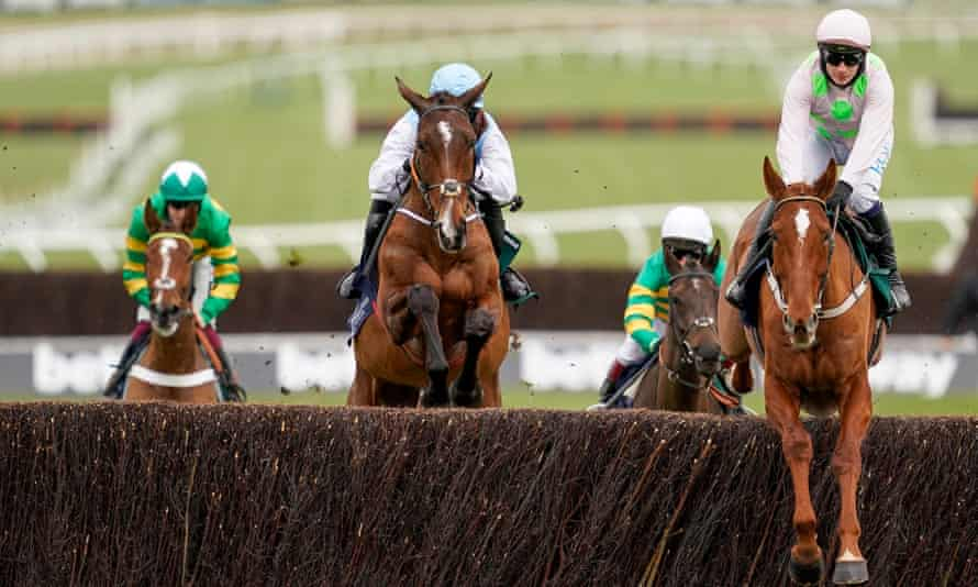 Monkfish on the way to winning the Novices' Hurdle at Cheltenham