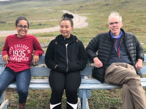 Poets Kathy Jetnil-Kijiner and Aka Niviana in Greenland with Bill McKibben