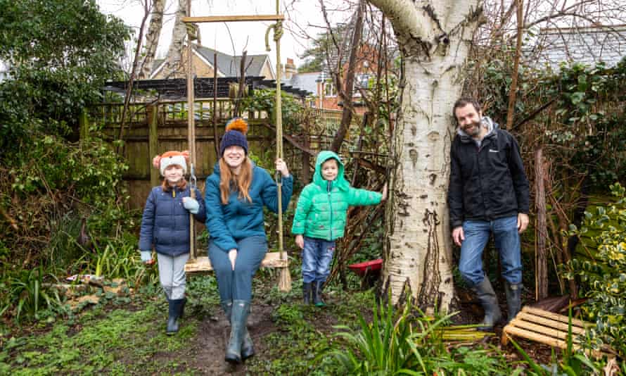 Author and maths lecturer Kit Yates with his daughter, Emmie, seven, his son, Will, five, and his partner, Caz Godfrey at their home in Oxford.