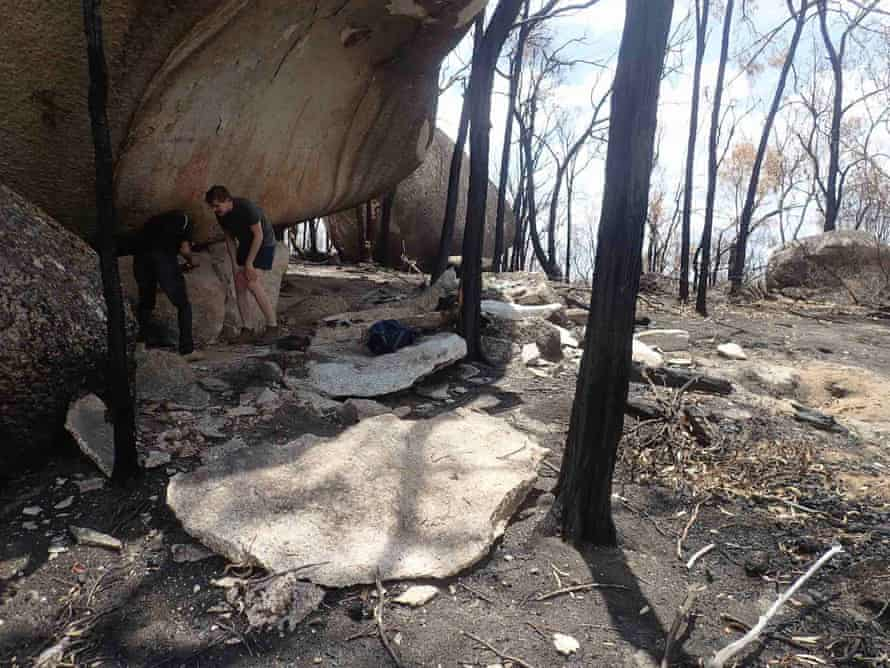 Anaiwan traditional owners Steven Ahoy andCallum Clayton-Dixon inspect the damage to the rock art