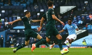 Raheem Sterling of Manchester City scores his sides fifth goal.
