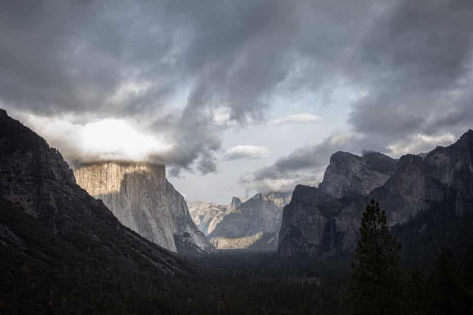 View over the Yosemite valley as one of the first winter storms approaches, bringing much-needed moisture.