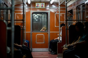A child on a subway train in Pyongyang, North Korea