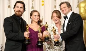 Christian Bale, Natalie Portman, Melissa Leo and Colin Firth at the 2011 Oscars.