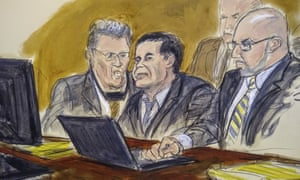 A courtroom drawing of Joaquín 'El Chapo' Guzmán (center) during the trial.