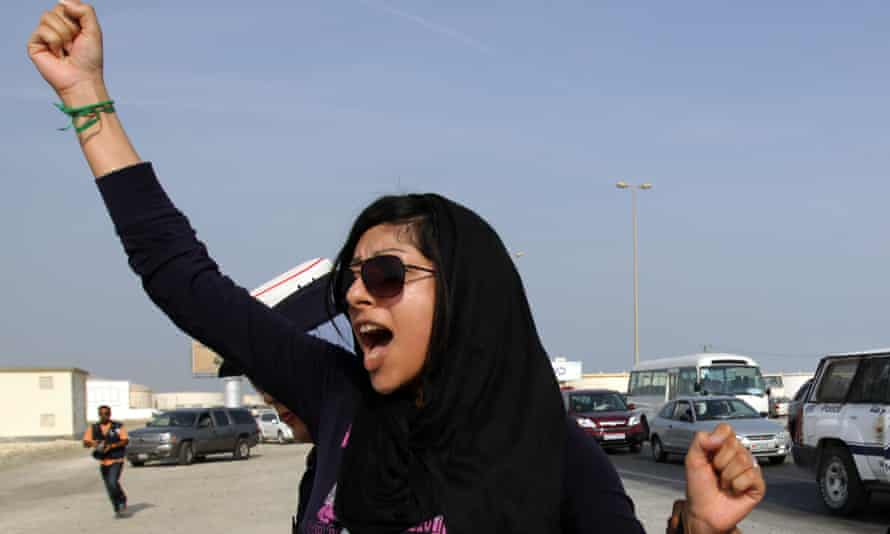 Zainab al-Khawaja, pictured in 2012, was jailed for anti-government protests, including tearing up pictures of King Hamad bin Isa al-Khalifa.