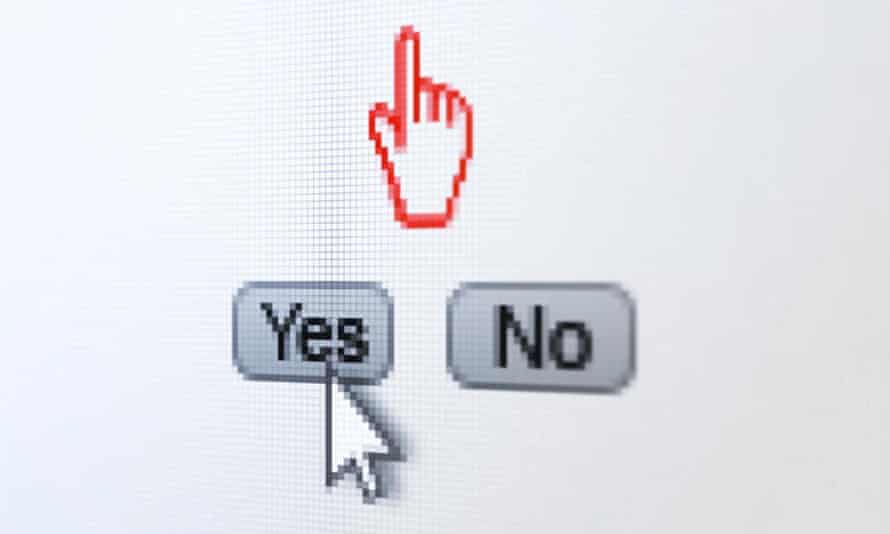 A computer mouse cursor selects yes on screen