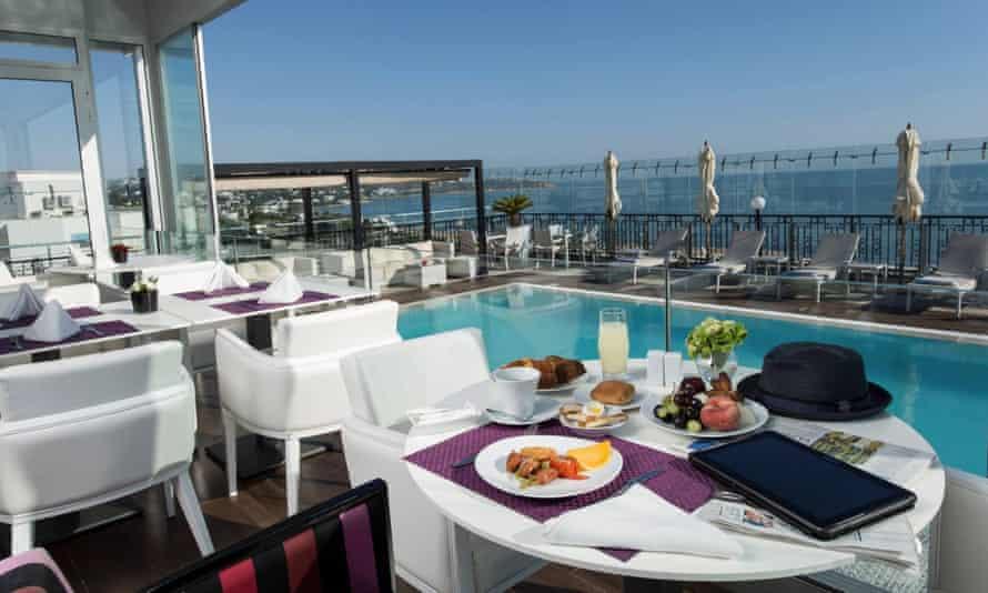 Seafront view from Dar El Marsa hotel, Tunis, Tunisia.