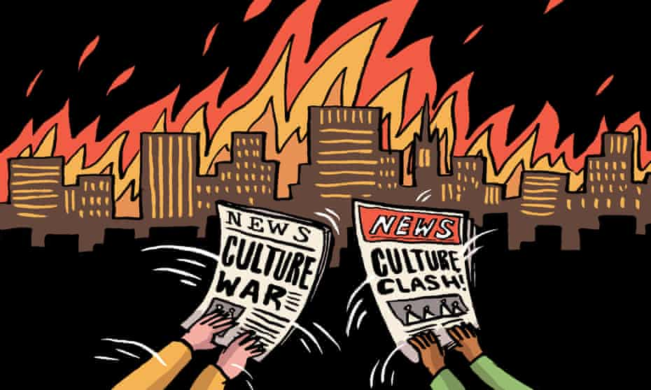 Dom McKenzie illustration depicting a burning city and culture clash headlines