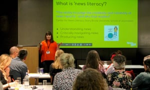 Angie Pitt from NewsWise discusses how to develop news literacy skills in children at the Guardian Education Centre Reading for pleasure conference 28 March 2019