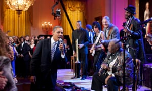 In front of President ObamaGary Clark Jr. performs at the White House with, from left, Troy Trombone Shorty Andrews, Jeff Beck, Derek Trucks, and B.B. King.