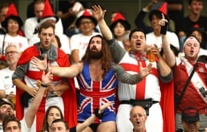 England fans enjoy the atmosphere in Oita.