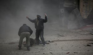 Aftermath of regime airstrikes on besieged rebel-held enclave of Kafr Batna near Damascus, 6 February.